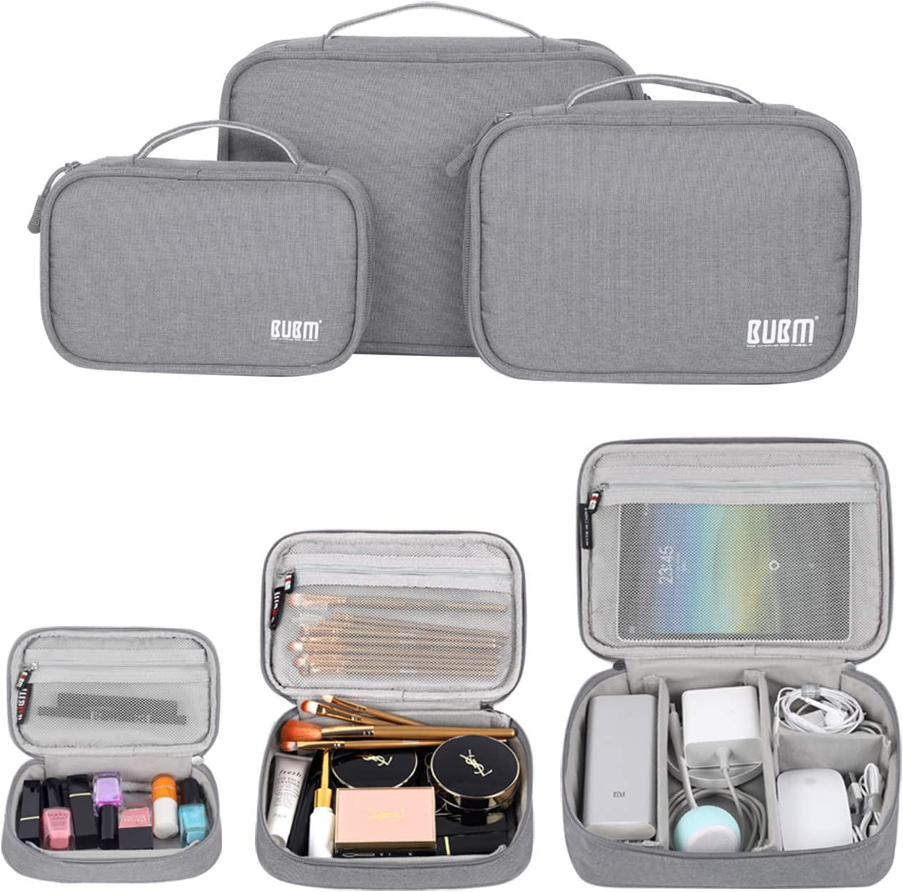 BUBM Cable Organizer Bag 3pcs Electronics Travel Organizer for Hard Drives, Cables, Phone, USB, SD Card(2 Year Warranty (Gray, L)