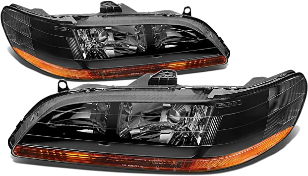 Amazon Com Pair Of Black Housing Amber Corner Headlight Assembly Lamps Replacement For Honda Accord Cg 98 02 Automotive