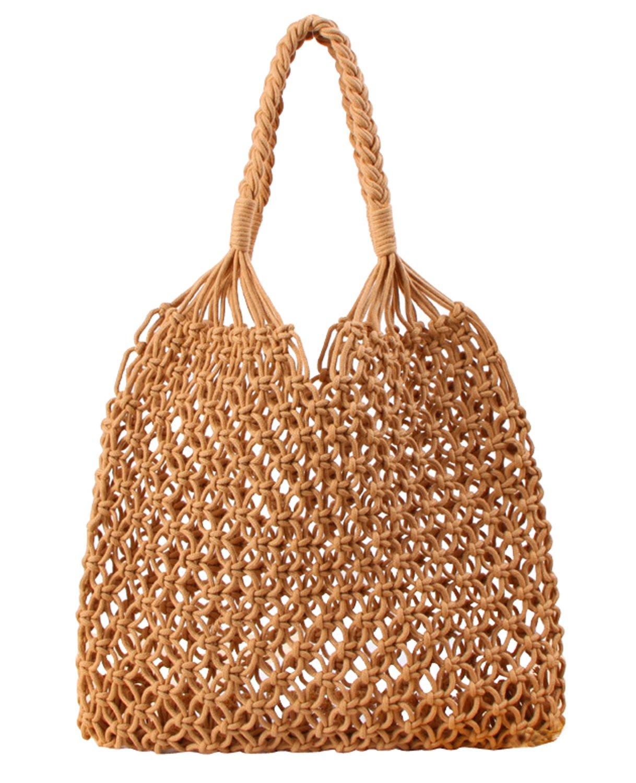 Beach Bag Tote Braided Handbag Women String Bag Summer Hobo Bag Travel Bag (Camel)
