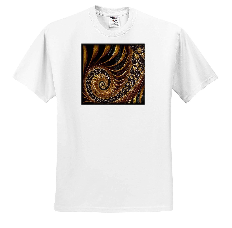 Fractal Art 3dRose Lens Art by Florene T-Shirts Image of Gold and Black Curved Textured Fractal