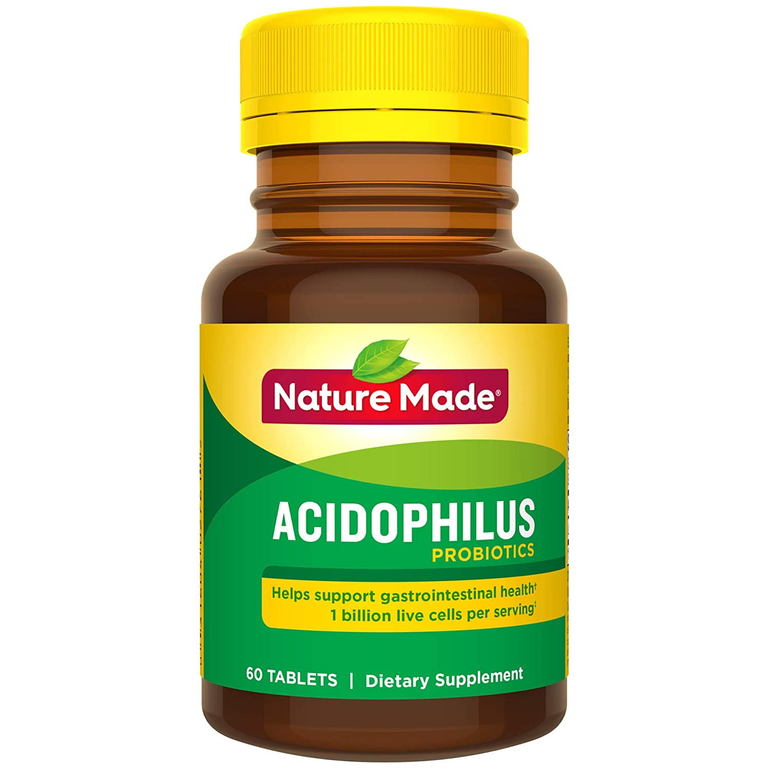 Nature Made Acidophilus Probiotics Tablets, 1 Billion CFU per serving,60 Count for Digestive Balance† (Packaging May Vary)