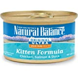 Natural Balance Kitten Formula Canned Wet Cat Food, Original Ultra Whole Body Health Chicken, Salmon & Duck, 3-Ounce Can (Pack of 24)