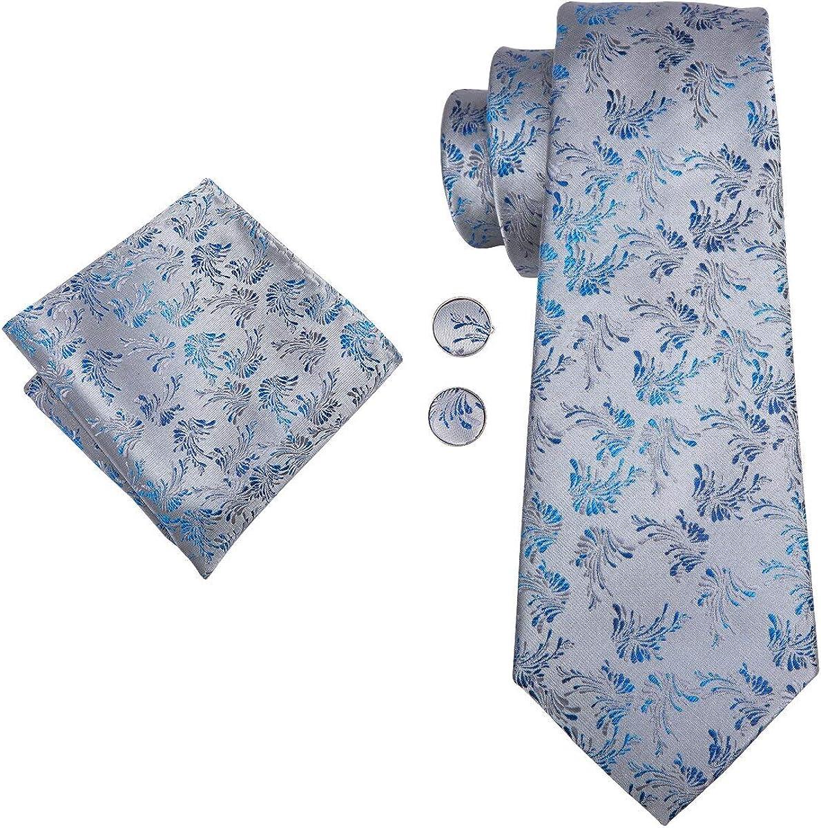 CDBGPZLD Corbata Floral De Seda Azul Para Hombre Corbatas Gris ...