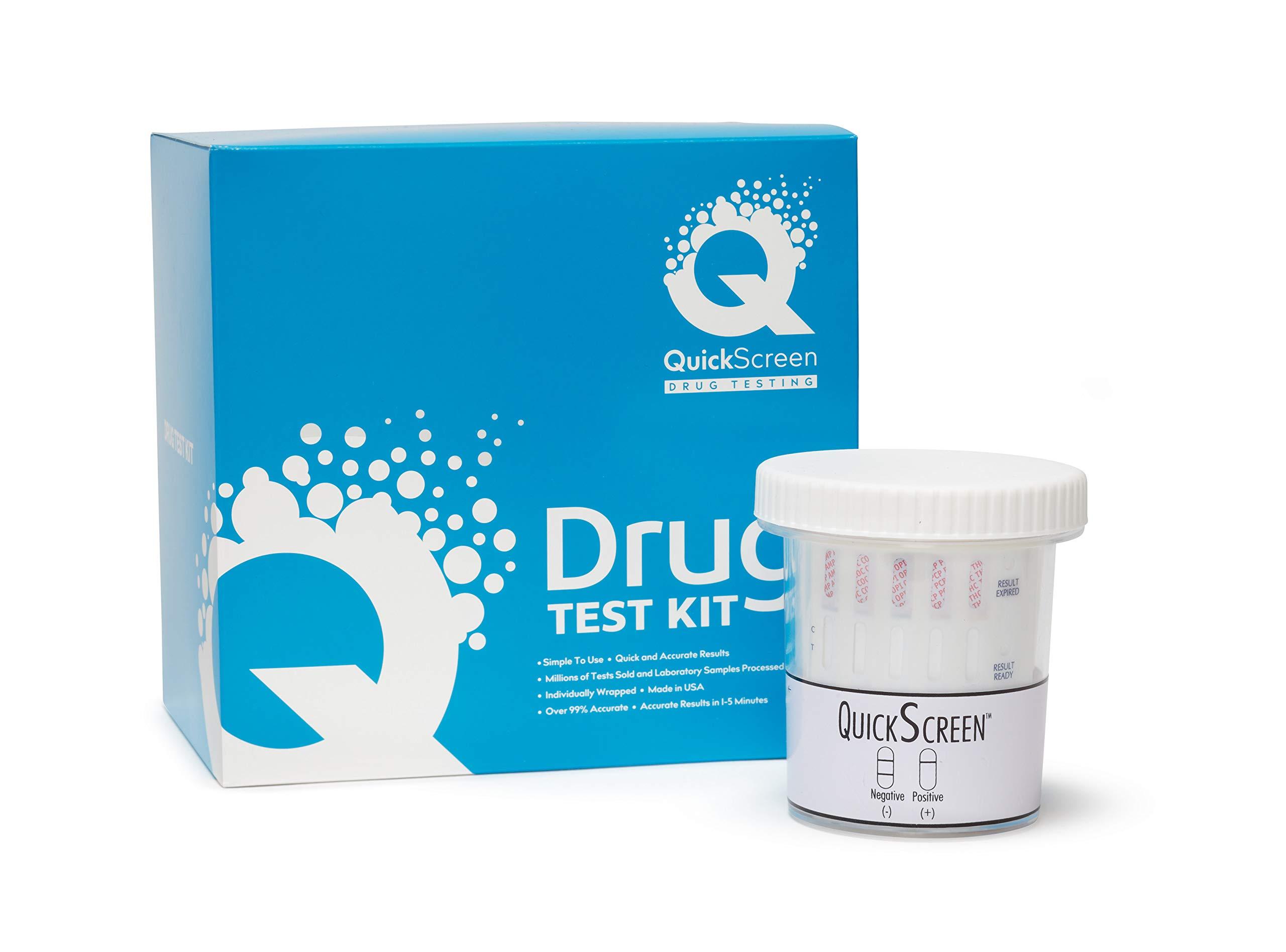 QuickScreen 5 Panel Drug Test Cup - 9162Z - BZD, COC, MET-500, OPI-300, THC + Timer (25)