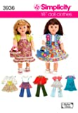 Simplicity Sewing Pattern 3936 Doll Clothes, One Size