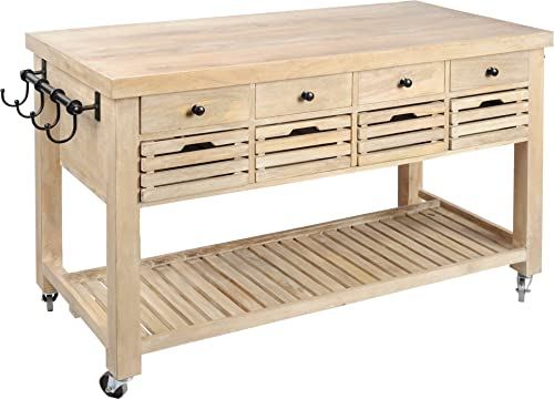Mercana Furniture Decor Columbia Rolling Kitchen Island with Storage, Large 55 x 28 x 34 , Light Brown