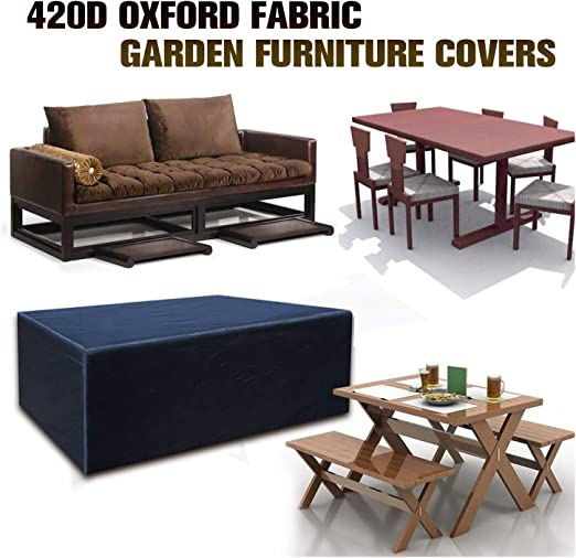 SJMDZZ Funda Protectoras Muebles Jardin, Funda para Muebles de Jardín Impermeable A Prueba de Viento Cubierta de Mesa de Jardín 420D Oxford Tela Cubierta de Mesa de Jardín para Patio, Negro: Amazon.es: