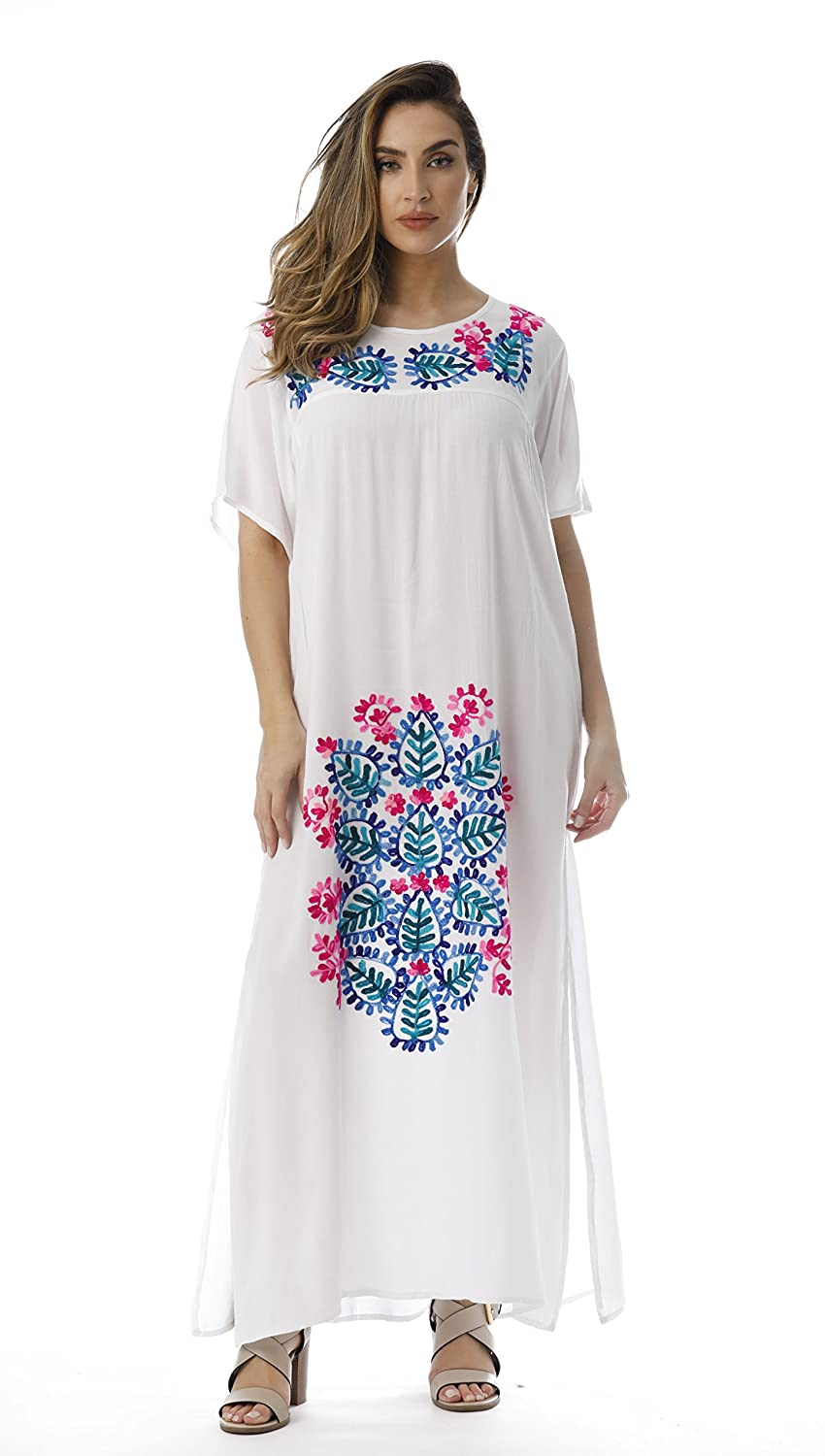 cfff799145 Riviera Sun Mexican Embroidered Maxi Dress with Double Side Slits at Amazon  Women s Clothing store