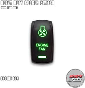 ENGINE FAN - Green - STARK 5-PIN Laser Etched LED Rocker Switch Dual Light - 20A 12V ON/OFF