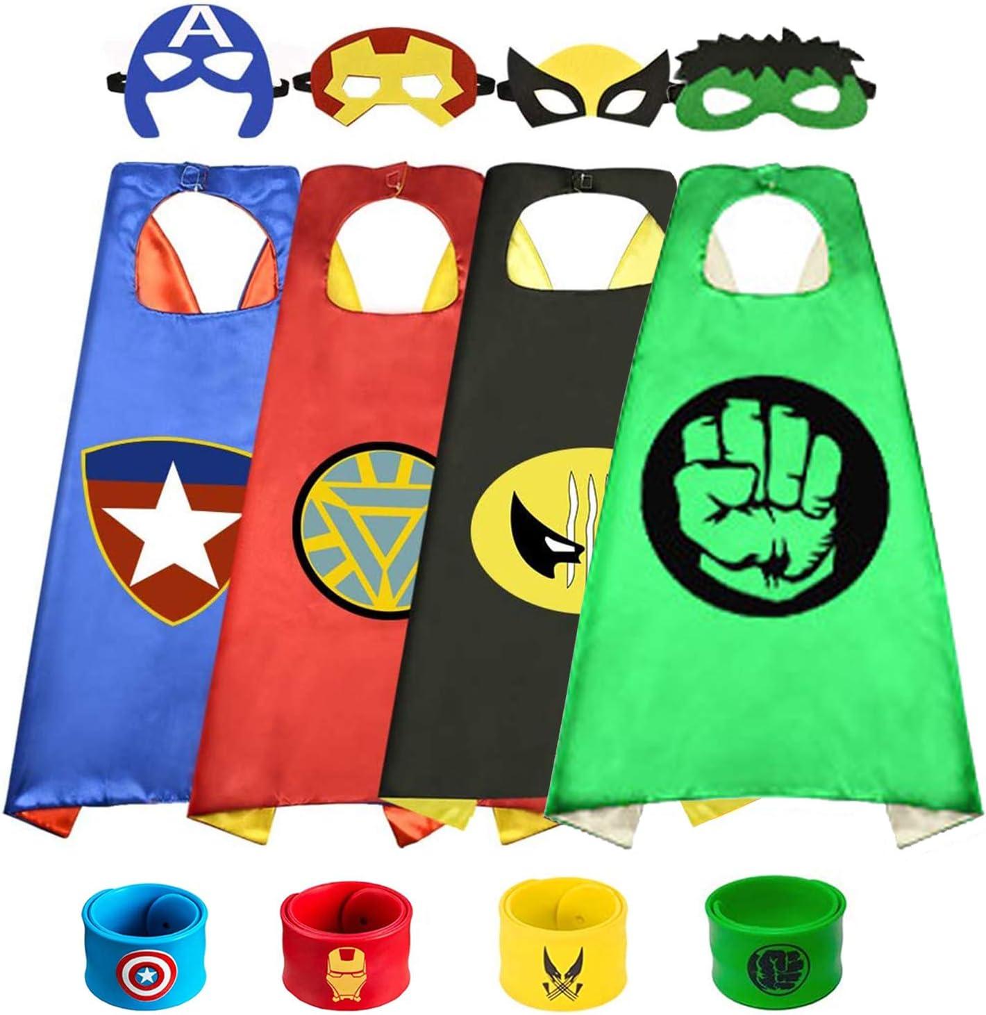 Capa de Superhéroe para Niños,Disfraces Infantiles para Cosplay de Fiesta de cumpleaños de Navidad,Los Mejores Regalos,Víspera de Todos los Santos-Navidad (4 Capa+4 Máscaras+4 Pulsera de silicona)