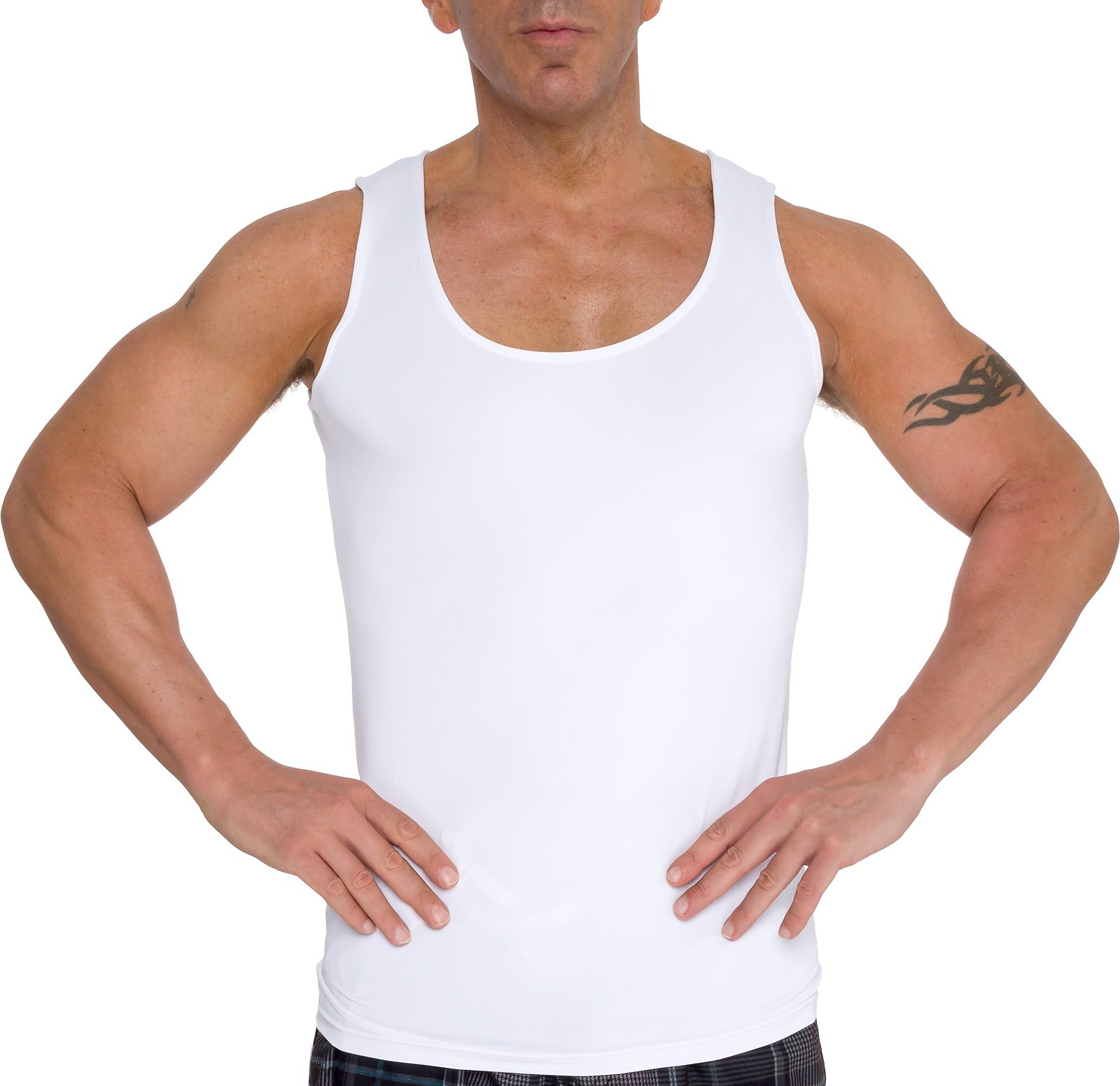 LISH Men's Slimming Light Compression Tank Top Shirt - Sleeveless Body Shaper Shirt for Gynecomastia, Weight Loss by (White, Large)