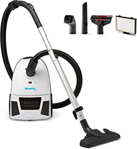 Canister Vacuum Cleaner, Simplicity Jill Compact Vacuum for Hardwood and Rugs, Dual Certified Hepa Filtration, Bagged