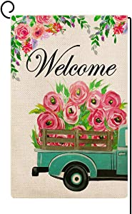 Baccessor Welcome Flowers Truck Garden Flag Small Vertical Double Sided Burlap Spring Summer House Home Seasonal Farm Farmhouse Yard Outdoor Decor 12 x 18 Inches (Flowers Truck)