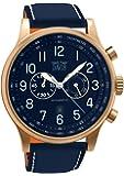 Davis 1945 - Montre Aviateur Homme Acier Or Rose Chronographe Etanche 50M Cadran Bleu Date Bracelet Cuir Bleu