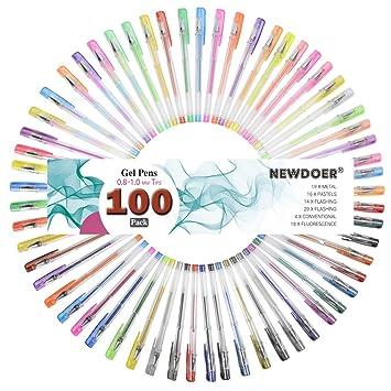 100 bolígrafos de gel con purpurina, brillantes, metálicos, neón, pastel, colores