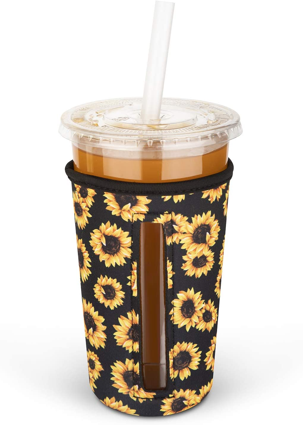 MEETI Reusable Iced Coffee Cup Insulator Sleeve for Cold Beverages, Neoprene Cup Holder Compatible with Starbucks, McDonald's Coffee, Dunkin Donuts, Tim Hortons and More, Large, Multicolor2