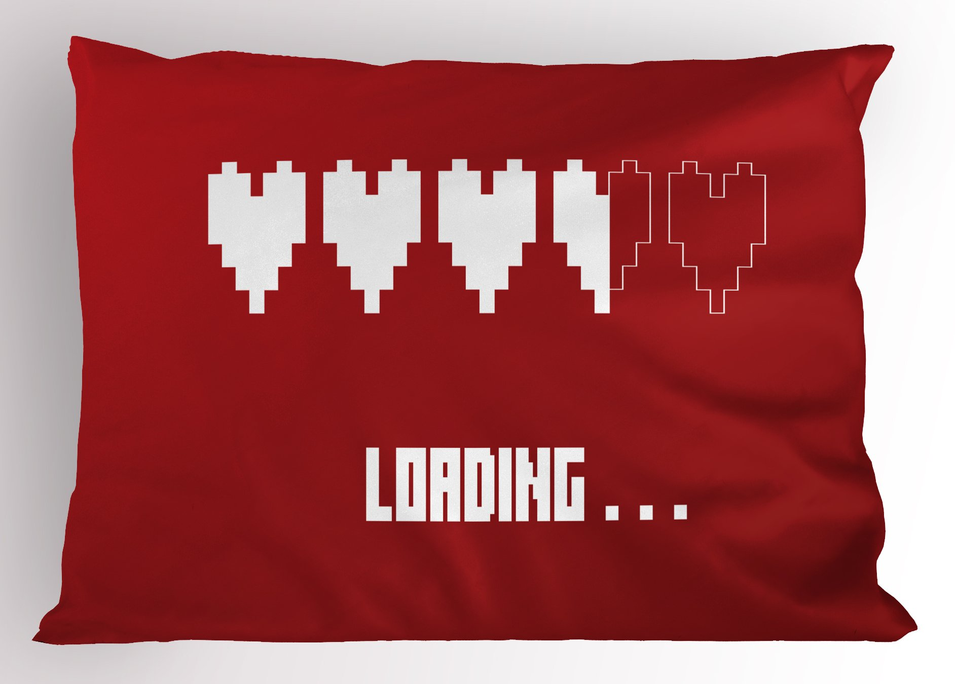 Ambesonne Romantic Pillow Sham, Love Loading Progress Bar with Valentine's Heart Shapes Video Games Illustration, Decorative Standard King Size Printed Pillowcase, 36 X 20 inches, Red White