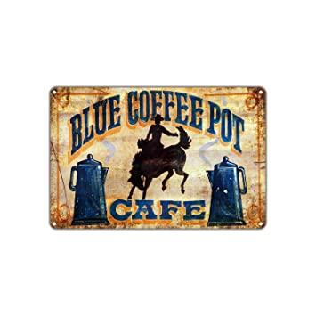 Amazoncom Blue Coffee Pot Tea Café Shop Vintage Retro Metal Wall