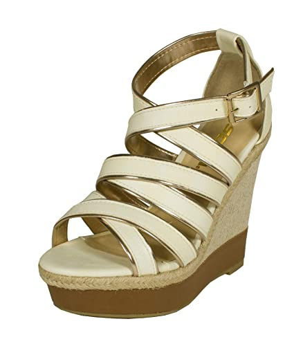 7eab56429610e SODA Stat Strappy Open Toe Leatherette Strip and Woven Espadrille Wedge  Sandal with Ankle Buckle
