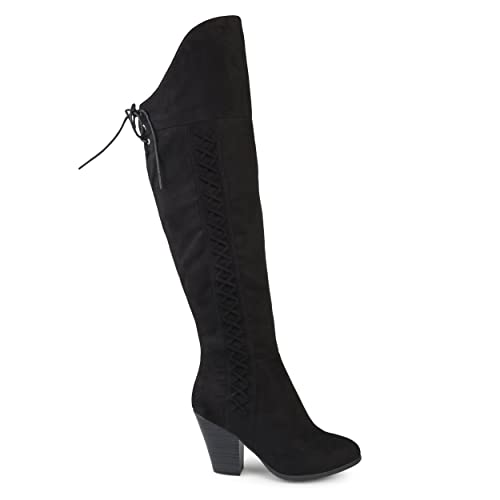 dbed5d42e6a4a Brinley Co. Womens Siro Faux Suede Regular and Wide Calf Faux Lace-up  Over-The-Knee Boots