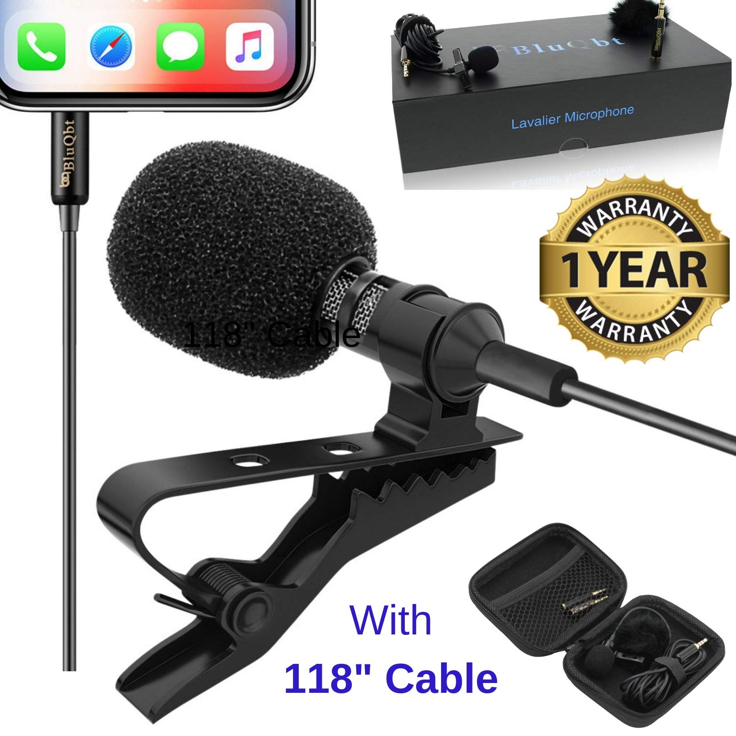 Lavalier Lapel iPhone Ipad Microphone - BluQbt Professional High Audio Quality Clip On asmr Microphone Lav Mic for YouTube Camera Vlogging 118'' Cable and Nice Carry case, Compatible with Apple by BluQbt