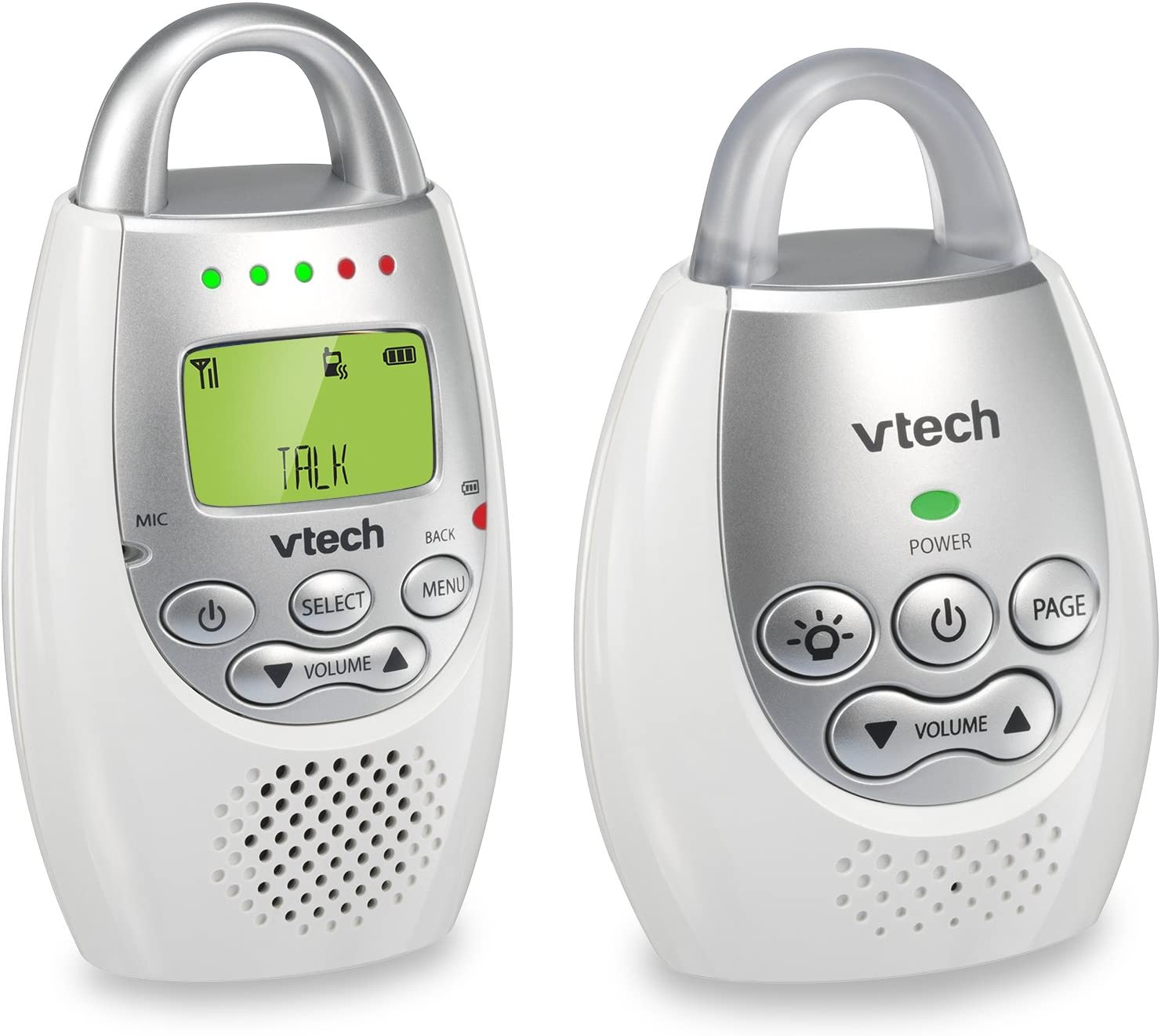 VTech DM221 Audio Baby Monitor with up to 1,000 ft of Range, Vibrating Sound-Alert, Talk Back Intercom Night Light Loop