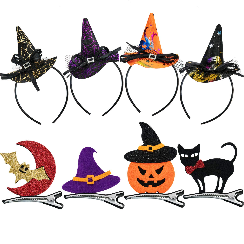 Tatuo 8 Piezas de Diadema de Halloween y Clip de Pelo de Halloween para Mujeres Chicas Niñas Decoración de Fiesta de Disfraz de Halloween
