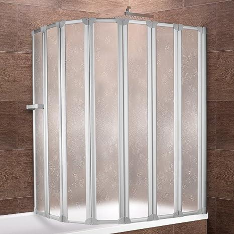 Schulte Duschwand Bien inkl. Handtuchhalter, 159x140 cm, 7-teilig faltbar,  Kunstglas Tropfen-Dekor, Profilfarbe alu-natur, Duschabtrennung für ...