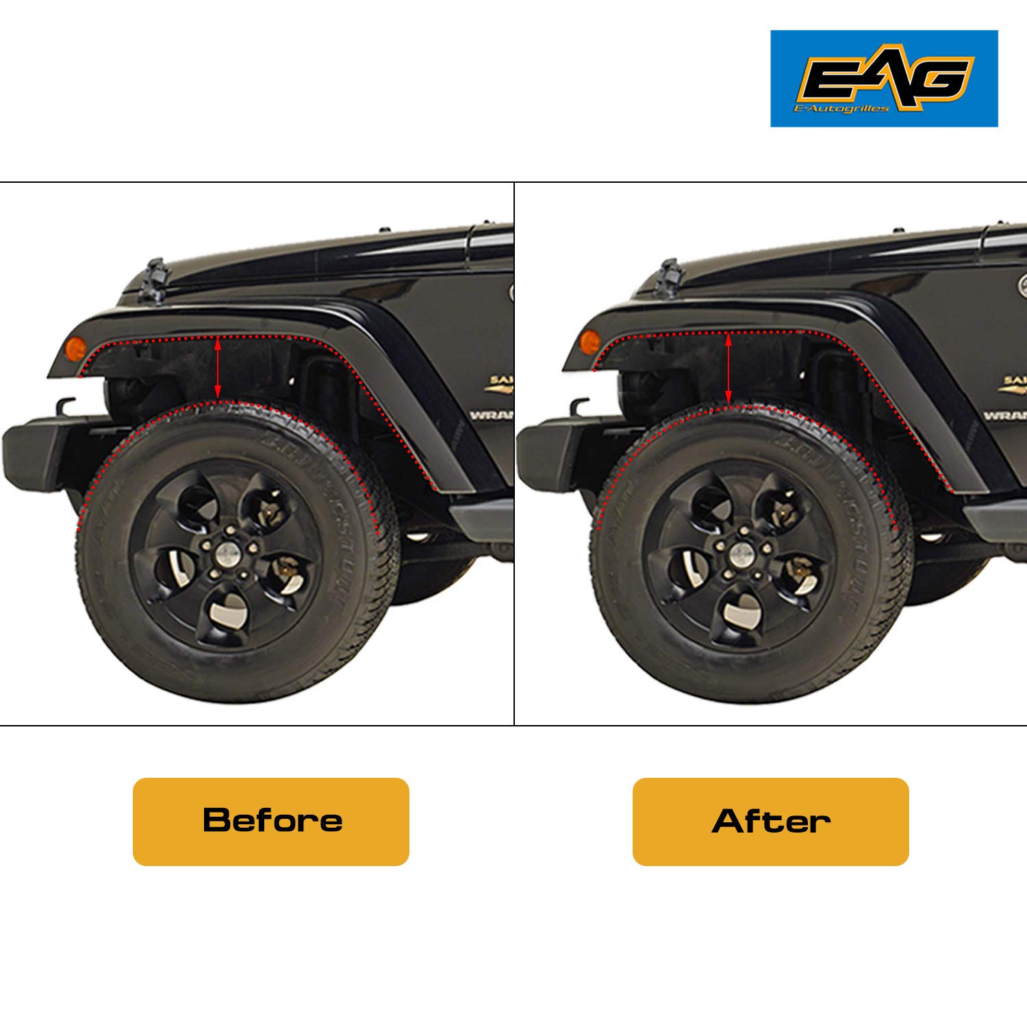 EAG 1.5 inch Front Leveling Lift Kit Spacer Raise Suspension Fit for 07-18 Jeep Wrangler JK