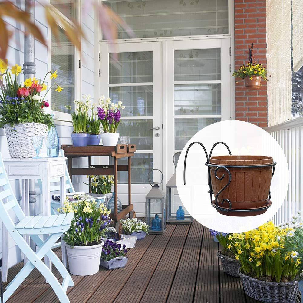 cheerfulus Hanging Plant Iron Racks with Flower Pot Balcony Flower Pot Rack Railing Fence Outdoor