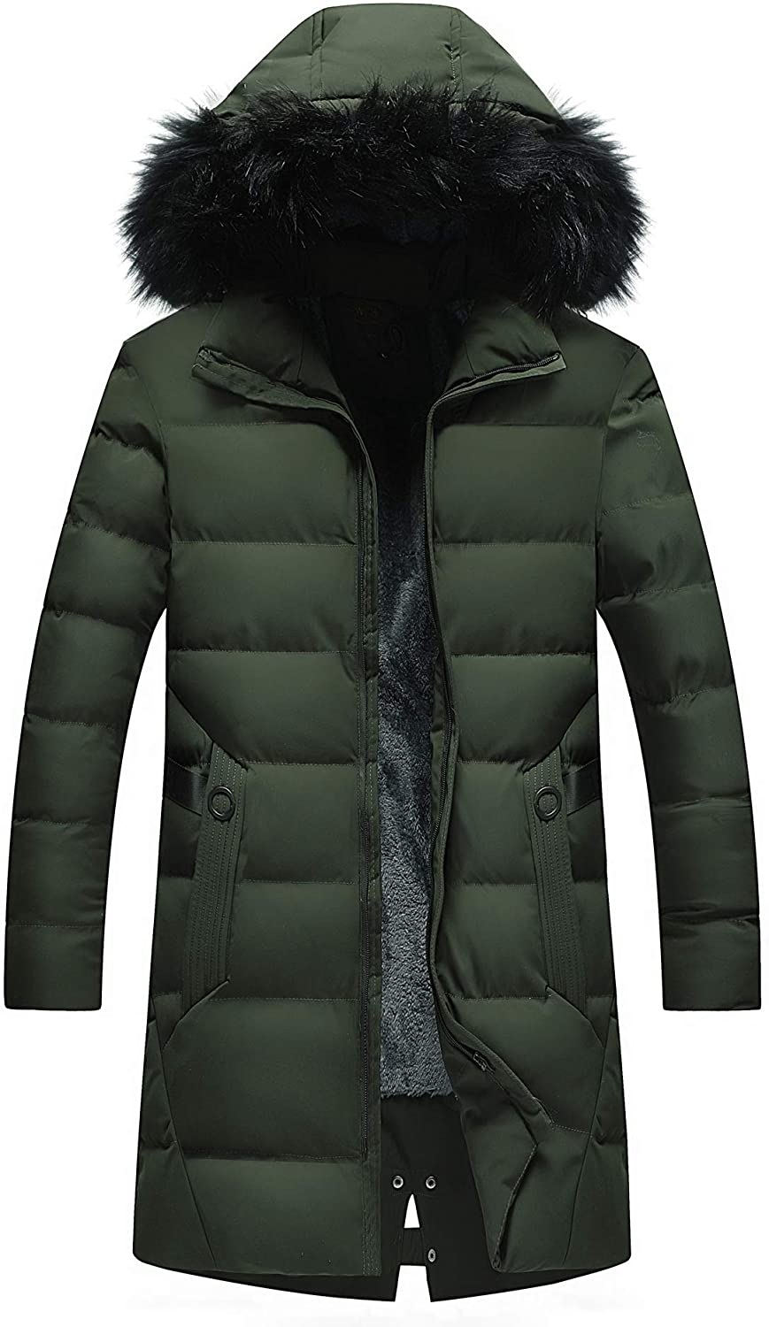 XICHENGSHIDAI Mens Long Padded Jacket Cotton Parka Coat with Faux Fur Trimmed Hood