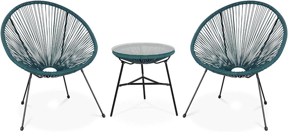 Alice's Garden Lot de 2 fauteuils Acapulco Forme d'oeuf avec Table d'appoint Bleu Canard Fauteuils 4 Pieds Design rétro, avec Table Basse, Cordage
