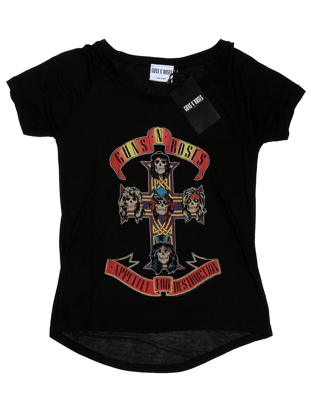 Amazon.com: Guns N Roses Womens Appetite For Destruction Roll Sleeve T-Shirt: Clothing