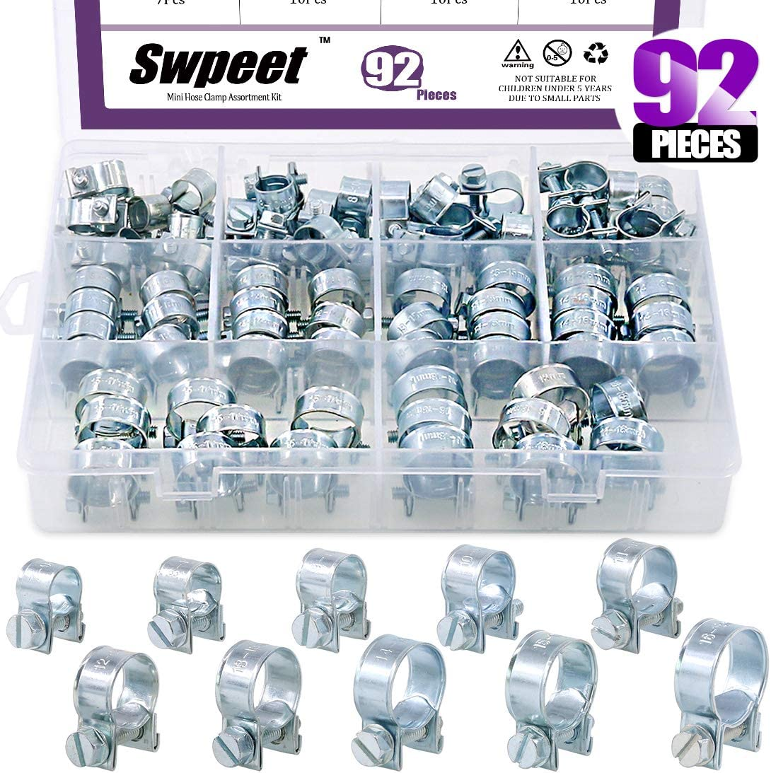 Swpeet 92Pcs 10 Sizes Zinc Plated Mini Fuel Injection Line Style Hose Clamp Assortment Kit Perfect for Automotive, Agriculture, Plant & Construction