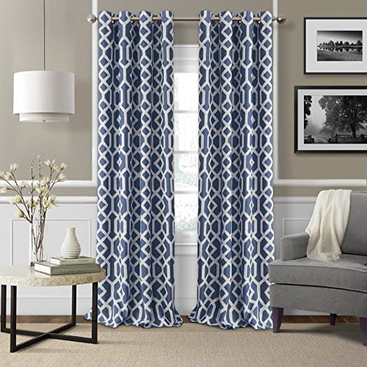 Elrene Home Fashions Grayson Room Darkening Ironwork Print with Silver Grommets Window Panel 52-Inch by 95-Inch, Indigo