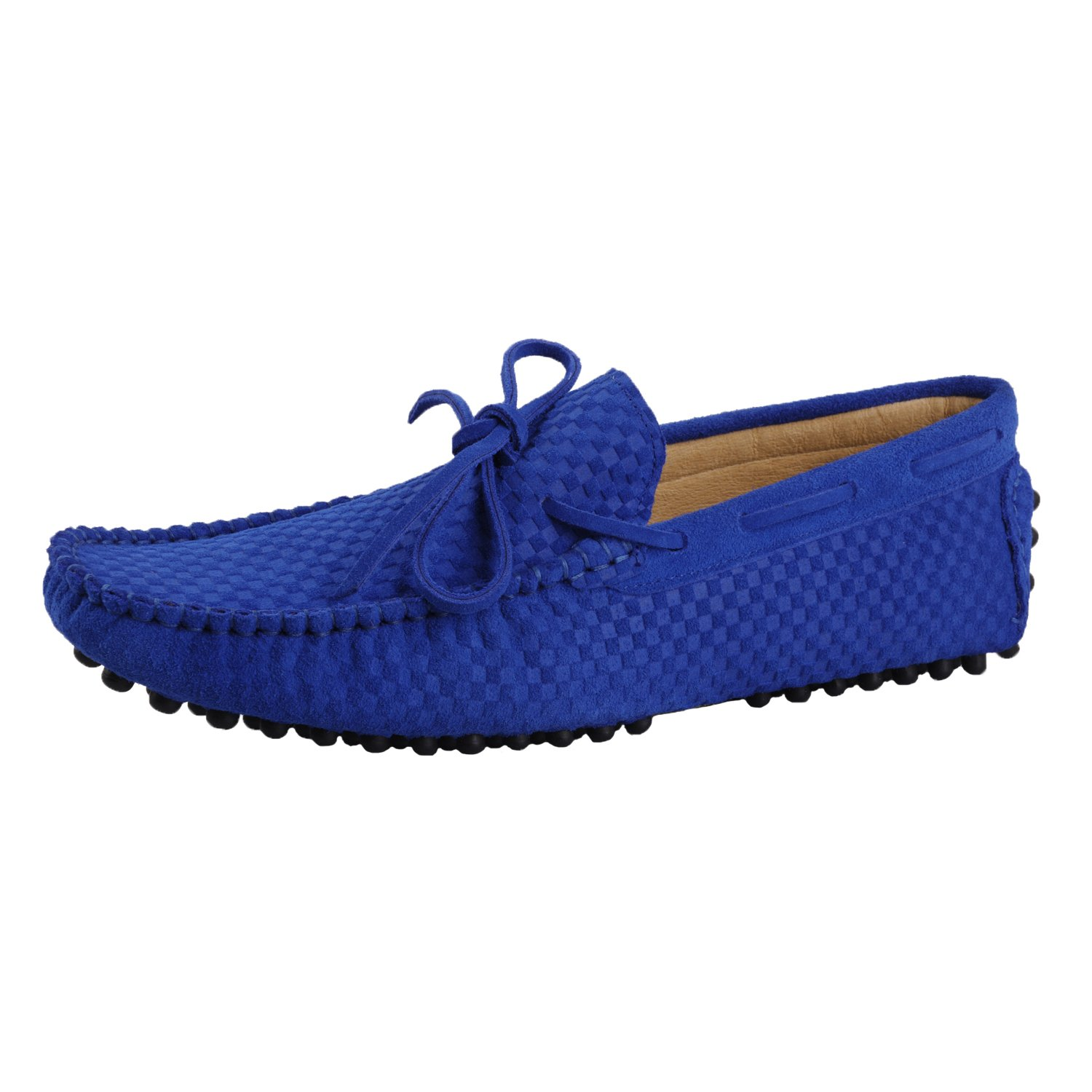 Santimon Men's Leather Driving Walking Moccasins Loafer Shoes Woven Laced Ornaments
