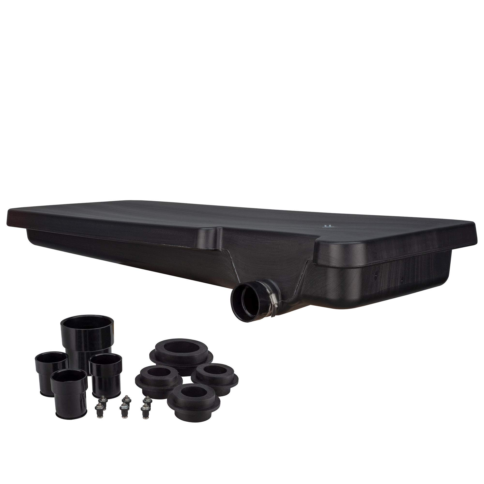 RecPro 44.5 Gallon Black Waste Water RV Holding Tank Right Side Drain 63'' x 25'' x 9 1/8'' | Fitting Kit Included by RecPro