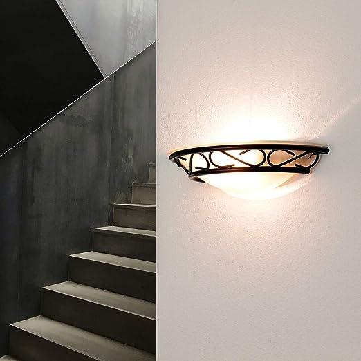 Edle Wandleuchte in weiß-gold Halbschale Wandlampen Glas Wohnzimmerleuchte Lamp