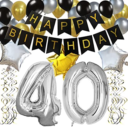 Imagenes De Cumpleanos Numero 40.Kungyo Clasico Decoracion De Cumpleanos Happy Birthday Bandera Negro Numero 40 Globo Balloon De Latex Estrella Colgando Remolinos Partido Para El