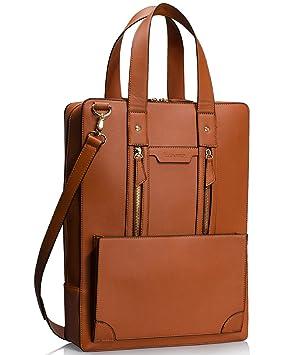d925a2b647cc2 Estarer Damen Aktentasche Bürotasche 15.6 Zoll Laptop Tasche in PU-Leder  Braun
