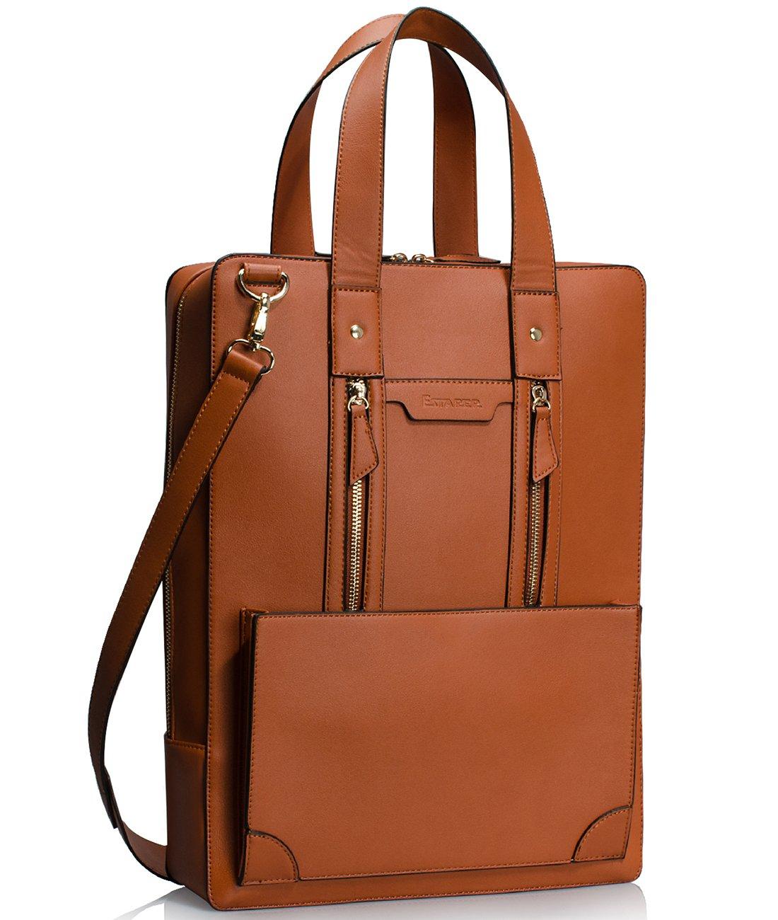Estarer Women Business Briefcase Handbag PU Leather 15.6 Inch Shoulder Laptop Work Bag