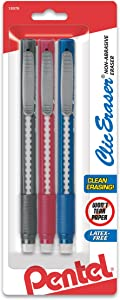Pentel Clic Retractable Eraser with Grip, Assorted Barrels, 3 Pack (ZE21BP3M)