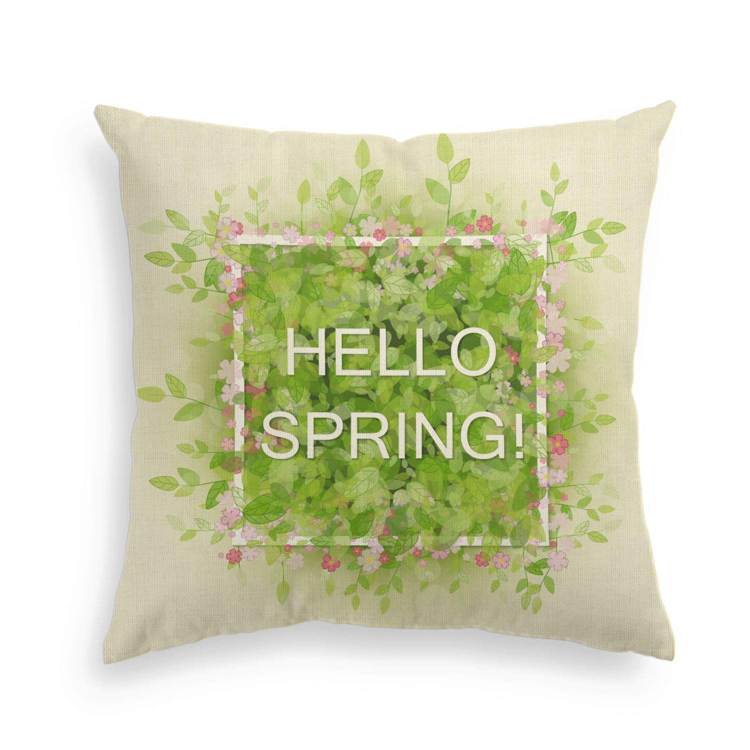 Invisible Zipper AVOIN Hello Spring Pillow Cover Flower Linen Decorative Throw Pillowcase 18 x 18 Inch Cute Easter Cushion Protector for Sofa Couch Home Decor Living Room