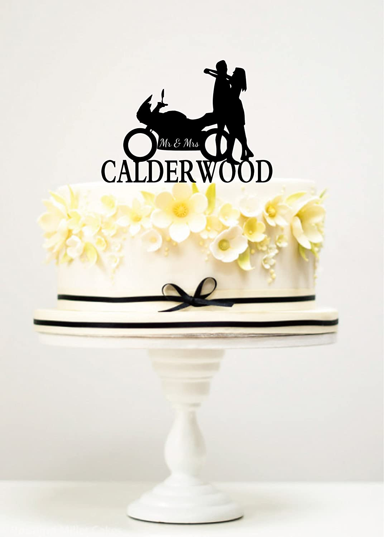Amazon.com: KISKISTONITE Cake Toppers Motorcycle Wedding Mr & Mrs ...