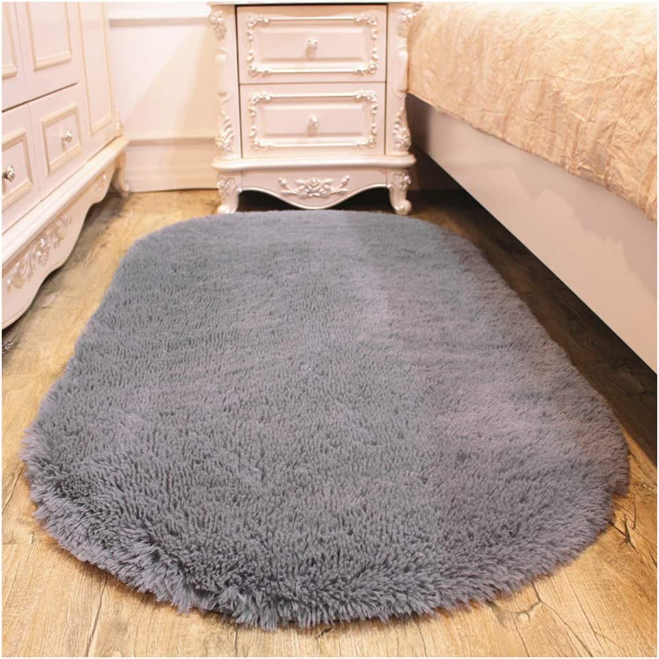 Shag Fur Oval Area Rugs Fluffy Microfiber Living Bedroom Indoor Runner Decorative Natural Modern Soft Carpet Floor Mat LGray 15