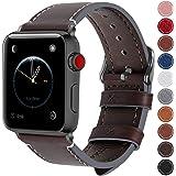 Fullmosa コンパチ Apple Watch バンド ベルト アップルウォッチバンド38mm 42mm Fullmosa apple ウォッチ4(40mm)3 2 1バンド 本革レザー 交換バンド 38mm コーヒー色+スモーキーグレーバックル