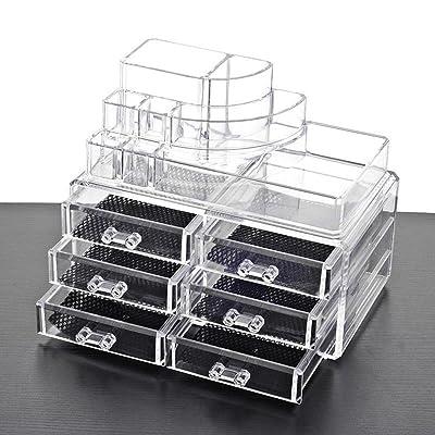 Étui cosmétique HWF Boîte à bijoux Boîte de rangement transparente PS Organisateur