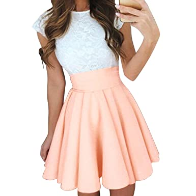 a147513e739a StarTreene Women Swing Dress One Piece A Line Mini Skirt High Waist Round  Neck Orange UK6