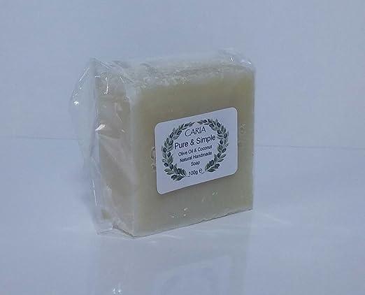 15 x CARIA Burbujeante PURE and SIMPLE Barra de jabón (piel sensible) Sin perfume Hecho a mano natural con oliva y aceite de coco: Amazon.es: Belleza