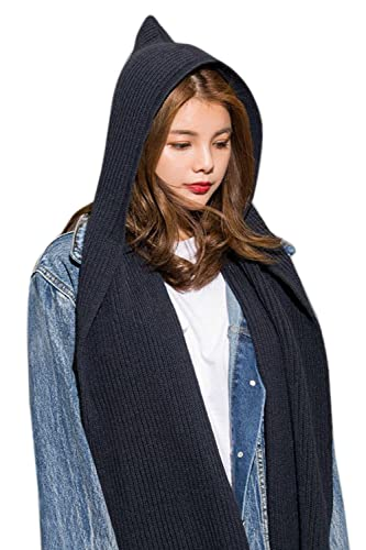 La Mujer De Punto Con Capucha Casual Solid Cálido Invierno Larga Bufanda Chal De Irregulares